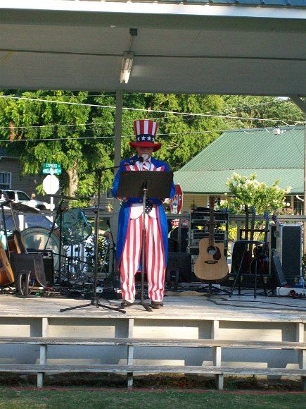 Close-up of Uncle Sam speaking at pavilion