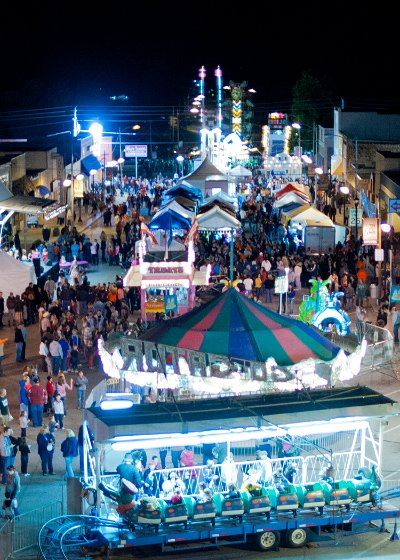 Aerial view of the 2011 Fall Festival at night